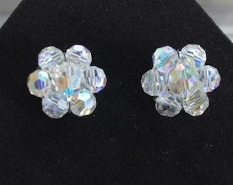 Beautiful Vintage Aurora Borealis Crystal Clip Earrings