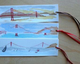 Golden Gate Bridge Bookmarks/Hand Made Bookmarks/Unique Bookmarks/Hand Painted Watercolour Bookmarks/Stationery/Gifts