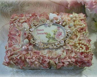 Vintage Box, Lace and Rose Adorned Antique Box, Cottage Chic, Vintage Ballet Slippers, Shabby Decor