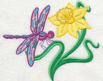 Dragonfly and Daffodil Embroidered Flour Sack Towel, Dragonfly Towel, Daffodil Towel, Spring Towel