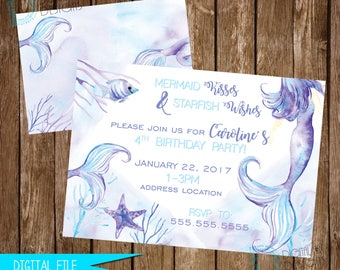 Mermaid Invitation, Mermaid Birthday Invitation, Mermaid Birthday Invite, Mermaid Party, Watercolor Mermaid, Printable Invitation, Mermaids