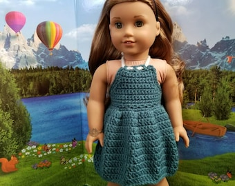 Dark Teal Crocheted SUNDRESS for 18in dolls like American Girl
