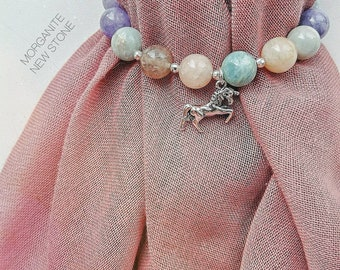 Bracelet with morganite and quartz stone beads and silver unicorn 925