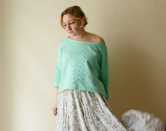 Mint Sweatshirt Hand Stamped, Off Shoulder Top Asymmetrical Hem Hi-low Shirt available in many colors