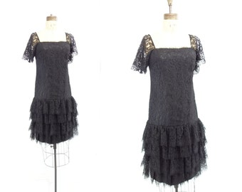 Black Lace Dress 80s Party Dress Lace Party Dress Flapper Dress Junior Vogue Drop Waist Dress Black Party Dress Chantilly Lace Dress s