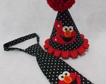 Elmo Birthday party hat and tie set, baby birthday, first birthday, elmo party, baby outfit,