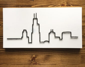 MADE TO ORDER String Art Chicago Illinois Skyline Single Line Strung Sign