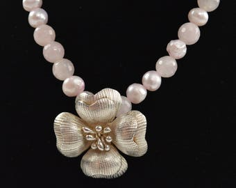 Pink Rose Quartz and Pearl Necklace with Handcrafted Flower Pendant