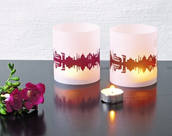 Lantern ROME city light, 2 Tablelight in fume and plum, for Rome Lovers, Honeymoon in Rome, romantic candlelight, City Shade Rome