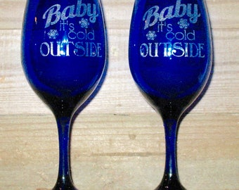 Blue Baby It's Cold Wine Glass (Set of 2)