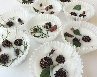 50 Scented Fire Starter Party Favors - Petite Pine Cones - Personalized Winter Weddings or Fall Bridal Showers -  Favor Boxes or Clear Bags