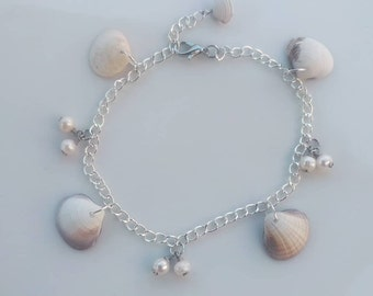 Seashell, Pearl Anklet