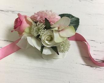 Flower wrist corsage, Flower bracelet, Wedding corsage, Prom corsage, Cotillion corsage