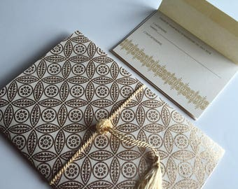 Indian Wedding Invitation and RSVP Card with Peacock Mayur on