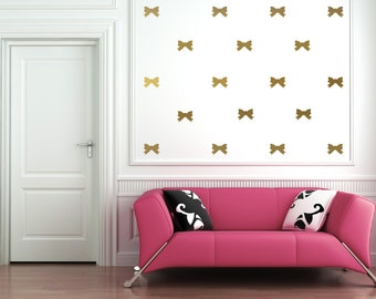 Bows Colored Vinyl Wall Decals (Metallic Gold, Mint, Black, Metallic Silver, Pink, Blue, Yellow, White, Other Colors Available)
