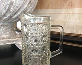 Windsor Clear Pint Pitcher Federal Glass Cane & Button Vintage Bar Hendersonville NC - #J4031