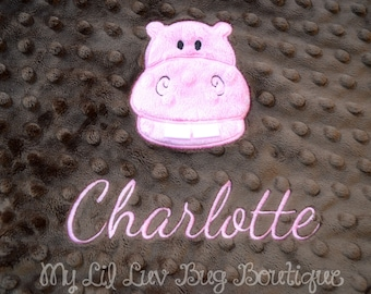 Personalized hippo baby blanket -baby hippo pink and lavender- lovey blanket