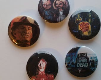 5 - 1 1/4 inch Various Horror Movie buttons / pins New! Carrie, Freddie Kruger, Living Dead, Chucky