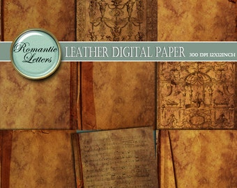 Leather texture Digital scrapbook paper pack printable scrapbook background paper digital paper vintage book covers old scrapbooking paper