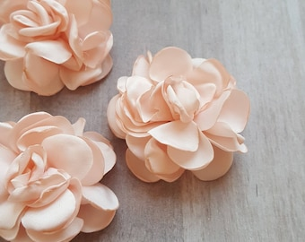 "2"" Satin Flower, Burned Edge flower, fabric flower, Singed Satin flower, DIY supplies, Headband flower, satin Flower, baby peach, peach"