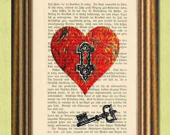 The Key to My Heart - Dictionary Art Print - Upcycled Antique Book Page