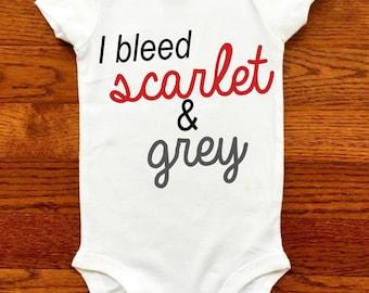 Ohio State Buckeyes Baby / Buckeye Baby / I bleed scarlet and grey / Ohio State Baby Clothes / OSU Buckeyes