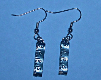 Tape Measure Earrings 2mm x .5mm - Pewter - Hypoallergenic Wires - Sewing/Quilting Theme Earrings