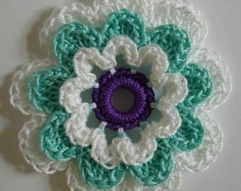 Crocheted Flower -  White, Aqua and Purple - Crocheted Flower Applique - Crocheted Flower Embellishment - Cotton Flower