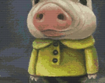 Modern Art Cross Stitch Kit By Tanya Bond 'Peter the pig sailing his boat'- Counted Cross Stitch, Pig Cross Stitch Kit