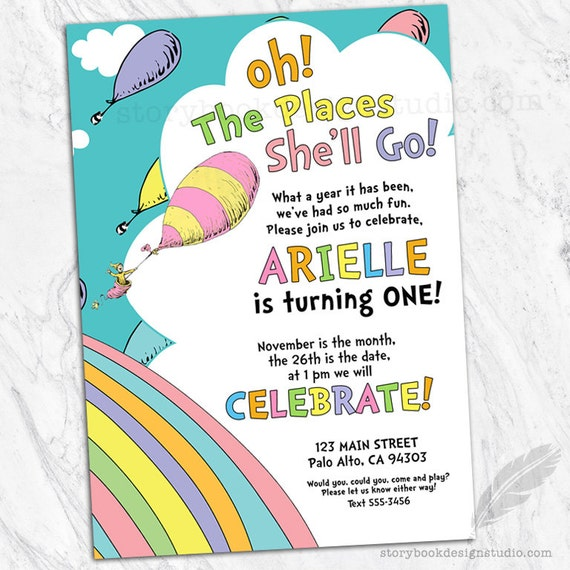 Oh The Places Birthday Party Invitations Kids Birthday Oh