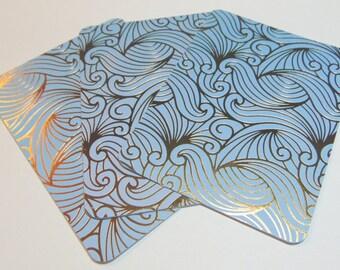 3x4 Blue & Gold Unicorn Hair Journal Cards Set of 4