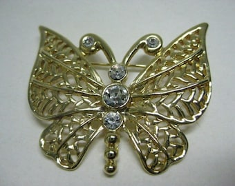 Butterfly Gold Rhinestone Brooch Filigree Vintage Pin