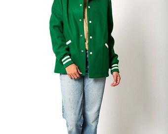 The Vintage Green 1970s Varsity Stadium Wool Jacket