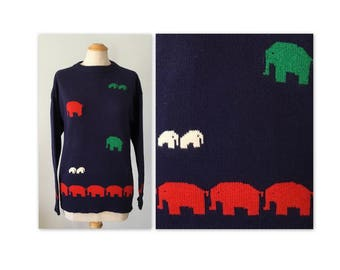 Vintage 80s Lambswool Sweater with Elephants