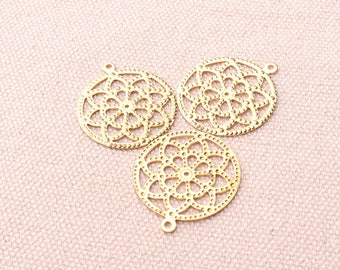 20mm Gold Flower Thin Charms Pendants 23mm Filigree Charms
