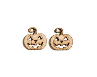 Wooden Jack-o-Lantern -Hanging Jewelry Pendant - Laser Cut, Craft Supply - 2qty - 1.18 x 1.18 Inch (3 x 3cm) DIY Crafts,Earring Supplies