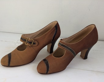 Vintage 30s Shoes Heels Brown Neutral 6 1930s Lady Fair