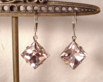 Blush Pink Rhinestone Bridesmaid Dangle Earrings, Art Deco Square Dusty Pink Crystal Silver Drop Bridal Earrings, Wedding Jewelry Gifts