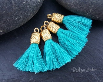 Turquoise Blue Mini Cotton Tassels, Findings, Mini Boho Tassels, Tassel Bracelet, Gold Plated Tassel Jewelry, Mini Tassels, Earring Tassels