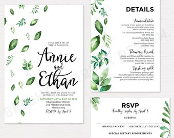 Greenery wedding invitation suite | digital download