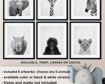 Black and white animal prints safari, Jungle animals nursery, Safari Nursery animal decor, Safari Baby animals, Animal kid print Print/Canva