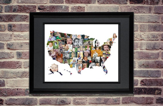 custom photo collage map of us usa map united states map
