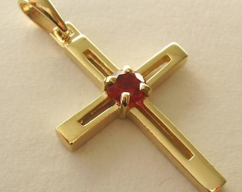 Genuine SOLID 9K 9ct Yellow GOLD Unisex RUBY July Birthstone birthday Cross Pendant