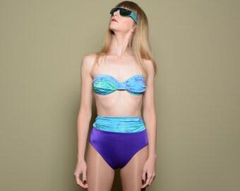 womens two piece swimsuit vintage 80s high waist bikini teal purple gold metallic abstract pattern small 2 4 womens swimwear Jantzen