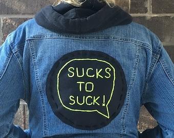 Embroidered Vintage Denim Jacket w/ Handmade Backpatch