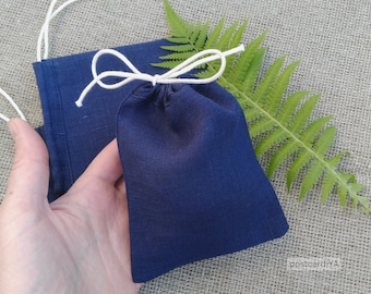 50 Navy Linen Pouches Jewelry Gift Pouches Blue Linen Gift Bags Wedding Gift Bags Party Gift Pouch 4 x 5 inches