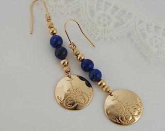 Lapis Earrings Bohemian Earrings Hammered Earrings Gold Earrings Bohemian Jewelry Lapis Jewelry