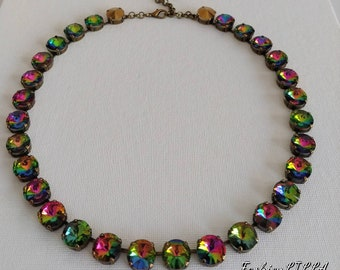 Rainbow crystal Collet Necklace, Anna Wintour Necklace,multicolor Riviere Necklace, Georgian Paste choker, regency Jewelry,18th Century