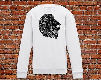 Lion sweater, lion lover, animal sweater, zen style, henna print sweater, lion print, lion head sweater, hipster gift, gift for tattoo lover