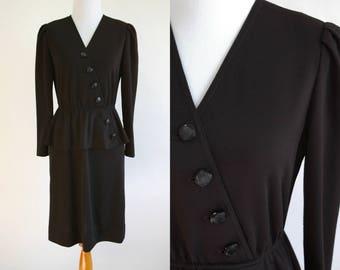 80s Black Peplum Dress - Modest Professional Dress - Small Peplum - Classy Black Dress - Stretchy Dress - 1980s Professional Woman - P Small